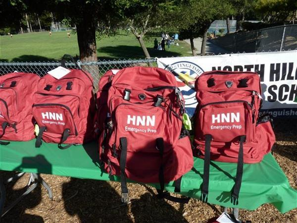 Red HNN emergency supply backpacks